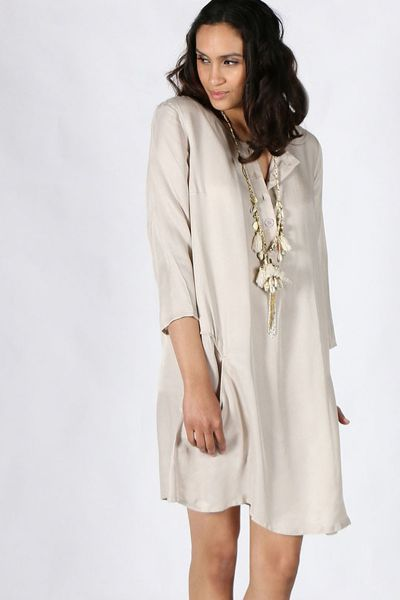 Tencel Shirtdress in Oyster by Seesaw