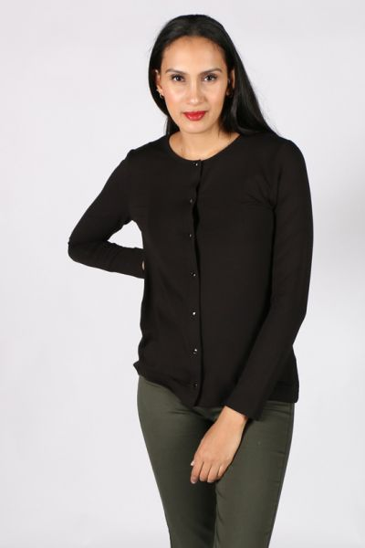 Meredith Button Front Cardi In Black