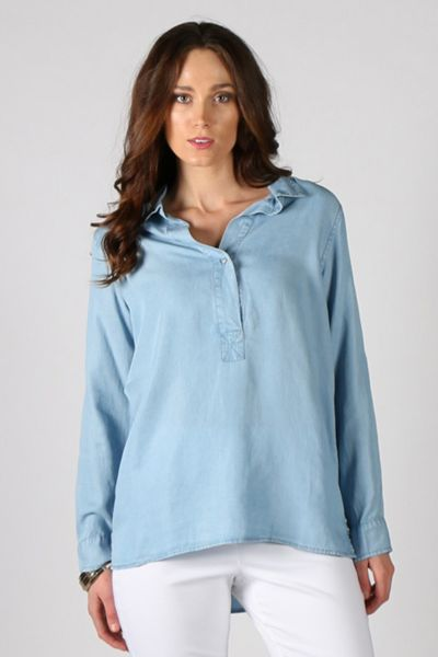 Washed Chambray Tab Front Shirt By Ridley
