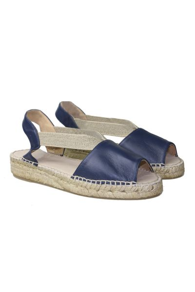 Pinaz Leather Etna Espadrille In Navy