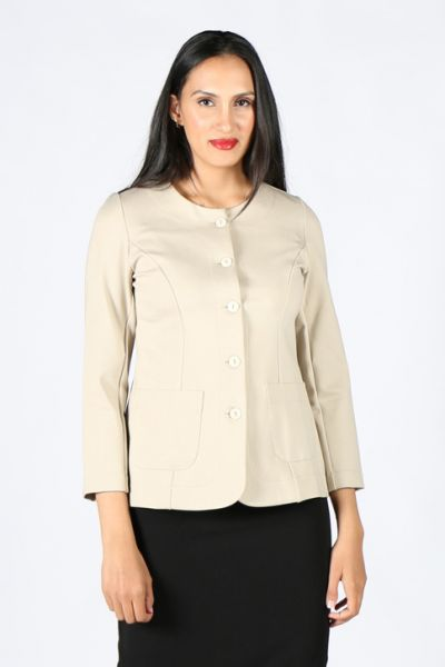 Ponte Button Front Jacket In Putty by Megan Salmon
