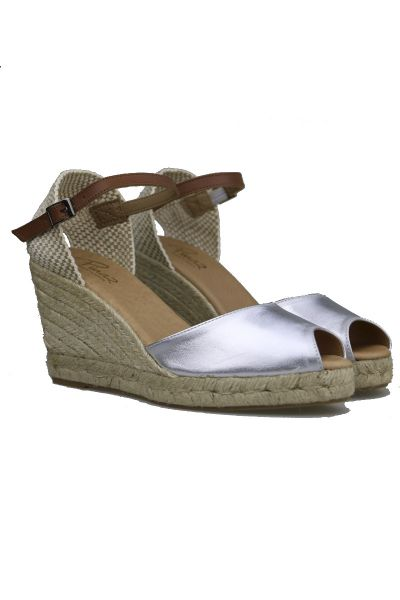 Pinaz High Espadrille Wedge In Silver
