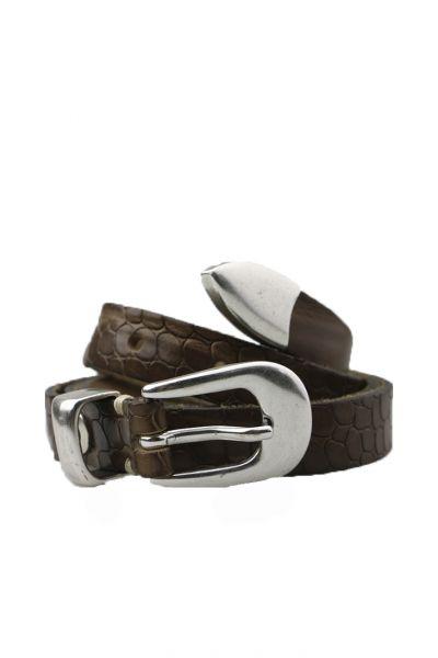 Skinny Croc Belt In Steel By B.Belt