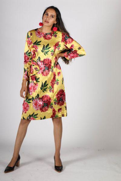 Curate In A Ruff Dress In Yellow