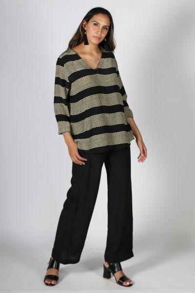 Anupamaa Asana Stripe Top in Black