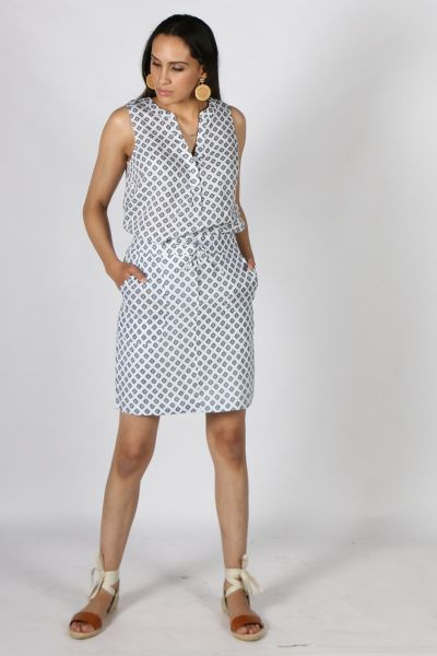Goondiwindi Cotton Diamond Print Skirt In White