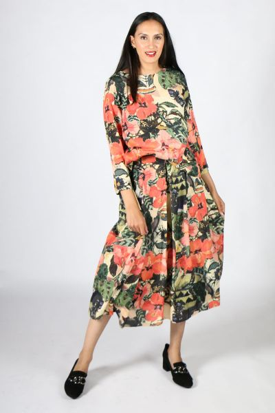 Printed Ellen Skirt In Hibiscus by Megan Salmon