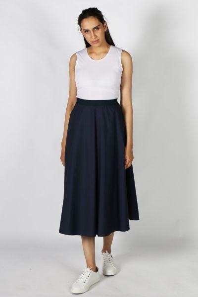 Eccentrica Circle Cotton Skirt in Navy
