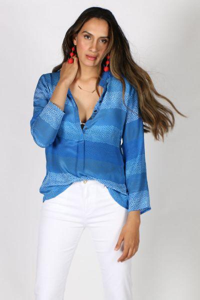 Printed Rajput Bhil Shirt In Cobalt
