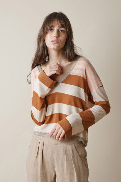 Indi & Cold Slouch Jumper in Tan