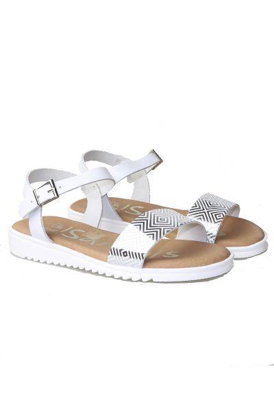 Herringbone Sandal By Oh My In White