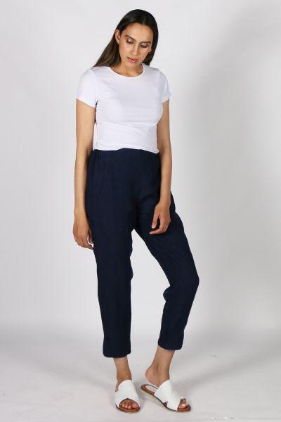 Goondiwindi Cotton Linen Pant in Navy