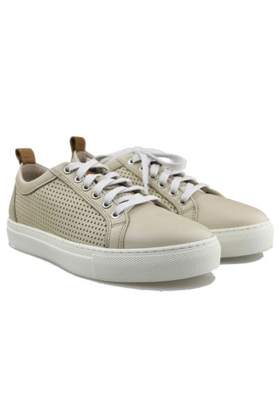 Punched Tab Sneaker by Sempre Di in Beige