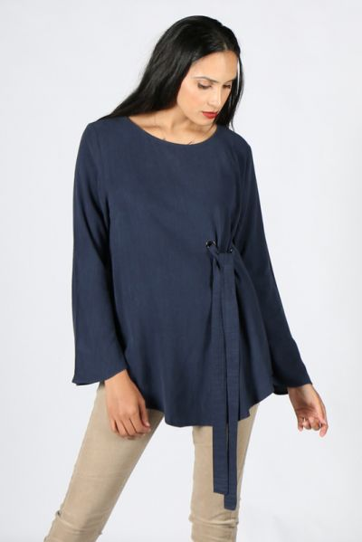 Chalice Ripple Eyelet Top In Ink