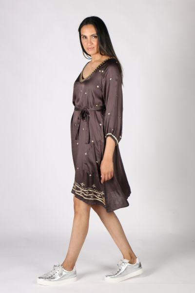 Rubyyaya Sequin Akira Dress In Charcoal