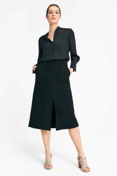 Layerd Ponte Skirt In Black