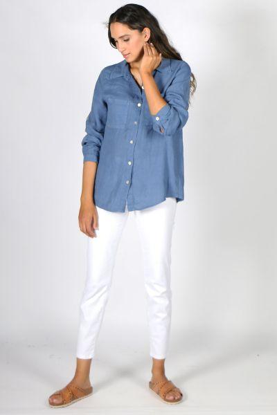 Talia Benson Linen Shirt In Blue
