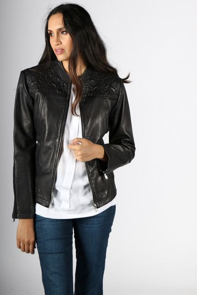 Jessica Embroidered Leather Jacket in Black by Kaja