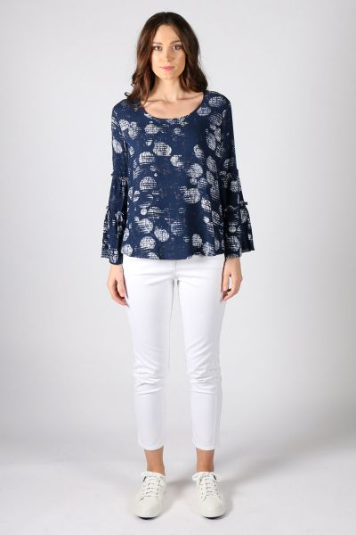 Off The Cuff Blouse By Foil In Navy