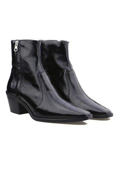 Lokas Wetlook Patent Western Boot in Black