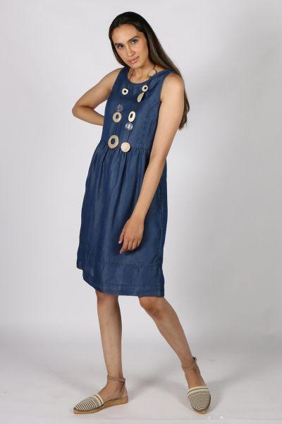 Eccentrica Drop Waist Dress In Blue