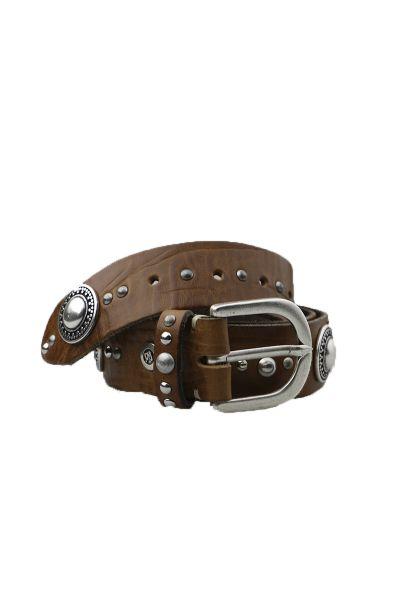 Shield Stud Belt By B.Belt In Cognac