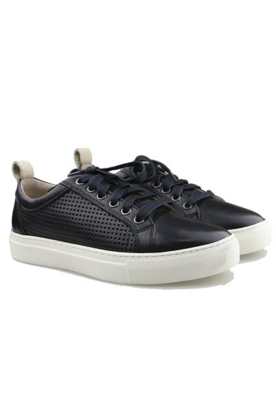 Punched Tab Sneaker by Sempre Di in Black