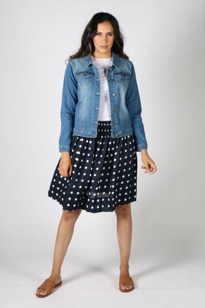 Frockk Zoe Spot Skirt In Navy