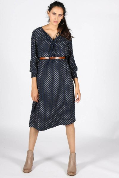 Noa Noa Spotted Frilled Dress In Blue