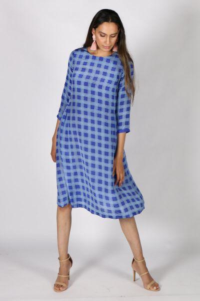 Printed Rasa Saloni Plaid Dress In Blue