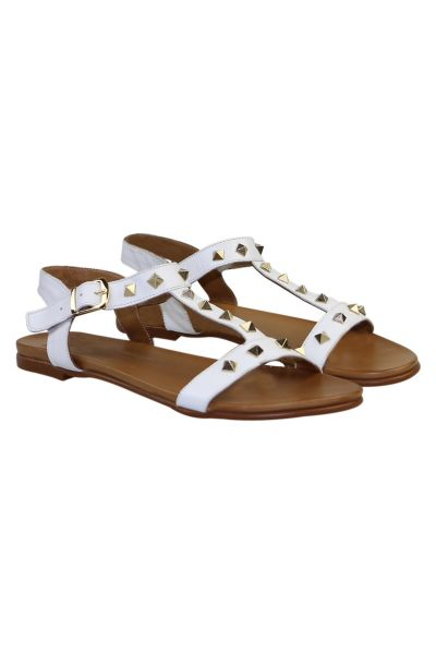 Studded T Bar Sandal By P Grande In White