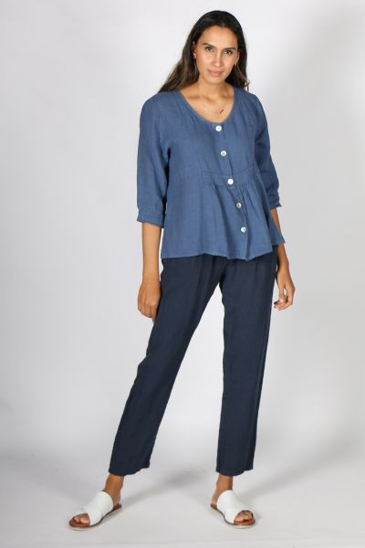 Talia Benson Gathered Button Top In Blue
