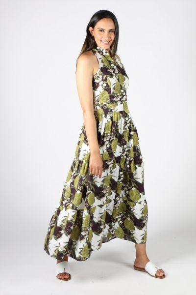 Frankie + Dash Sleeveless Dress In Pineapple Print