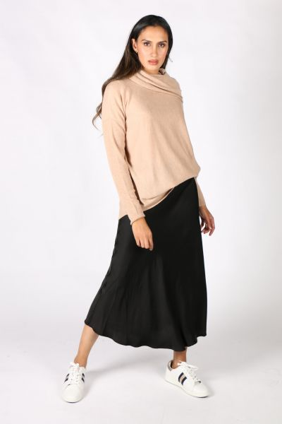 Elizabeth Scott Bias Evening Skirt In Black