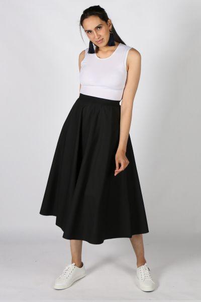 Eccentrica Circle Cotton Skirt in Black