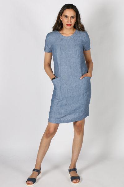 Eccentrica Linen Shift Dress in Denim