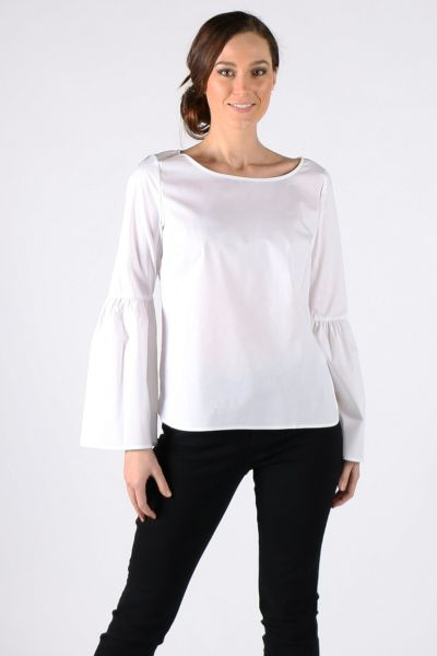 Spring Yaya Frill Sleeve Top In White
