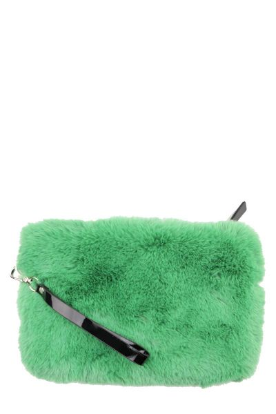 365 Days Faux Fur Clutch Bag In Apple