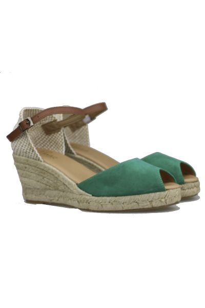 Pinaz Mid Height Espadrille Wedge In Emerald