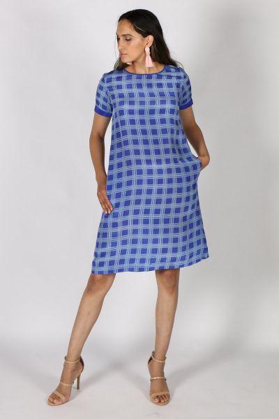 Printed Rasa Sella Paid Dress In Blue