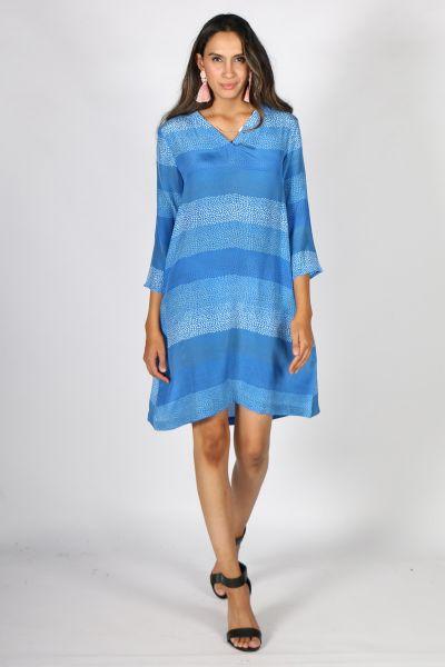 Printed Rasa Surya Bhil Dress In Cobalt