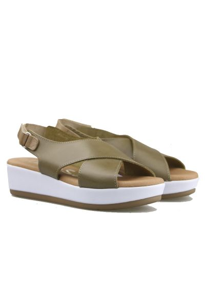 Cross Leather Platform Sandal by Oh My in Khaki