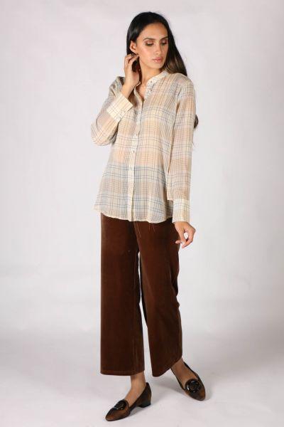 Coster Velvet Pants In Tan