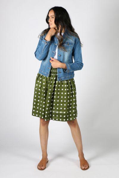Frockk Zoe Spot Skirt In Olive