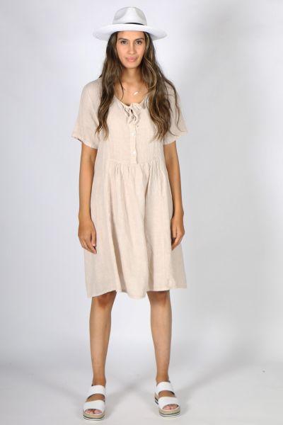 Talia Benson Tie Neck Dress In Beige