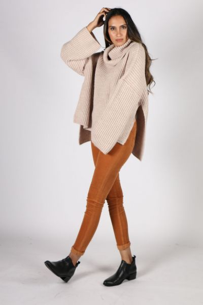 Ping Pong Roll Neck Chunky Jumper In Oatmeal