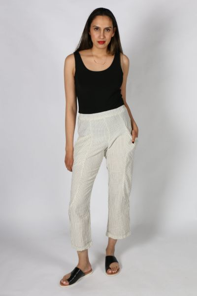 Cynthia Ashby Stripe Pant In Ivory