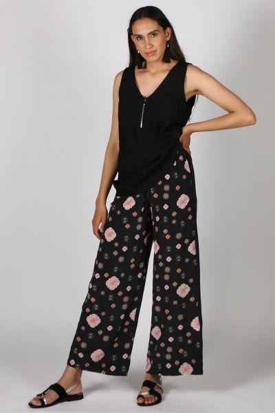 Mah Xenia Floral Pant in Black