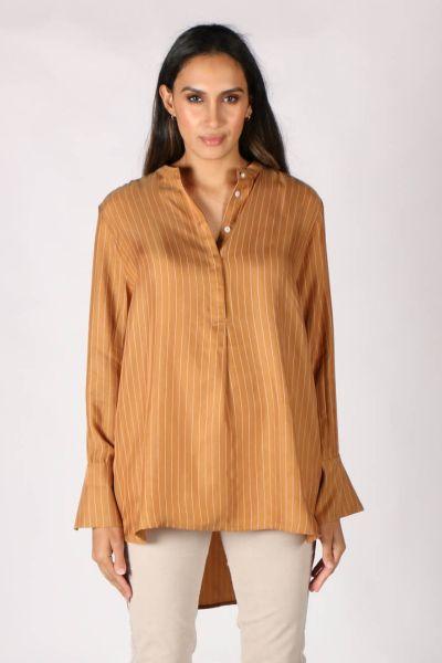 Coster Pinstripe Shirt In Tan