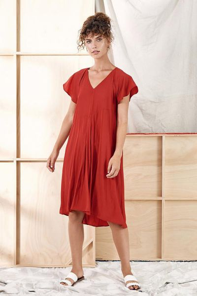 Layerd Fa Dress In Red